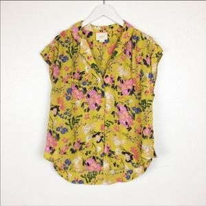 Anthropologie Maeve Floral Yellow Raffine Blouse